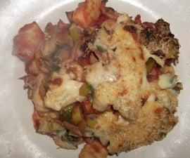 baked homemade gnocchi with ham, leek, mushroom & cheese