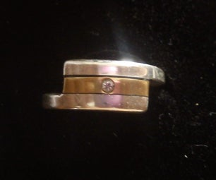Silver, Gold and Saphire Ring