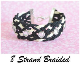 Make a beautiful 8 strand braided leather bracelet