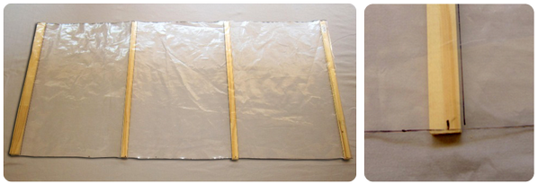 Picture of Slip the Battens Under the Plastic Sheet and Use the Marks Traced on the Plastic Sheet to Align Them Properly.