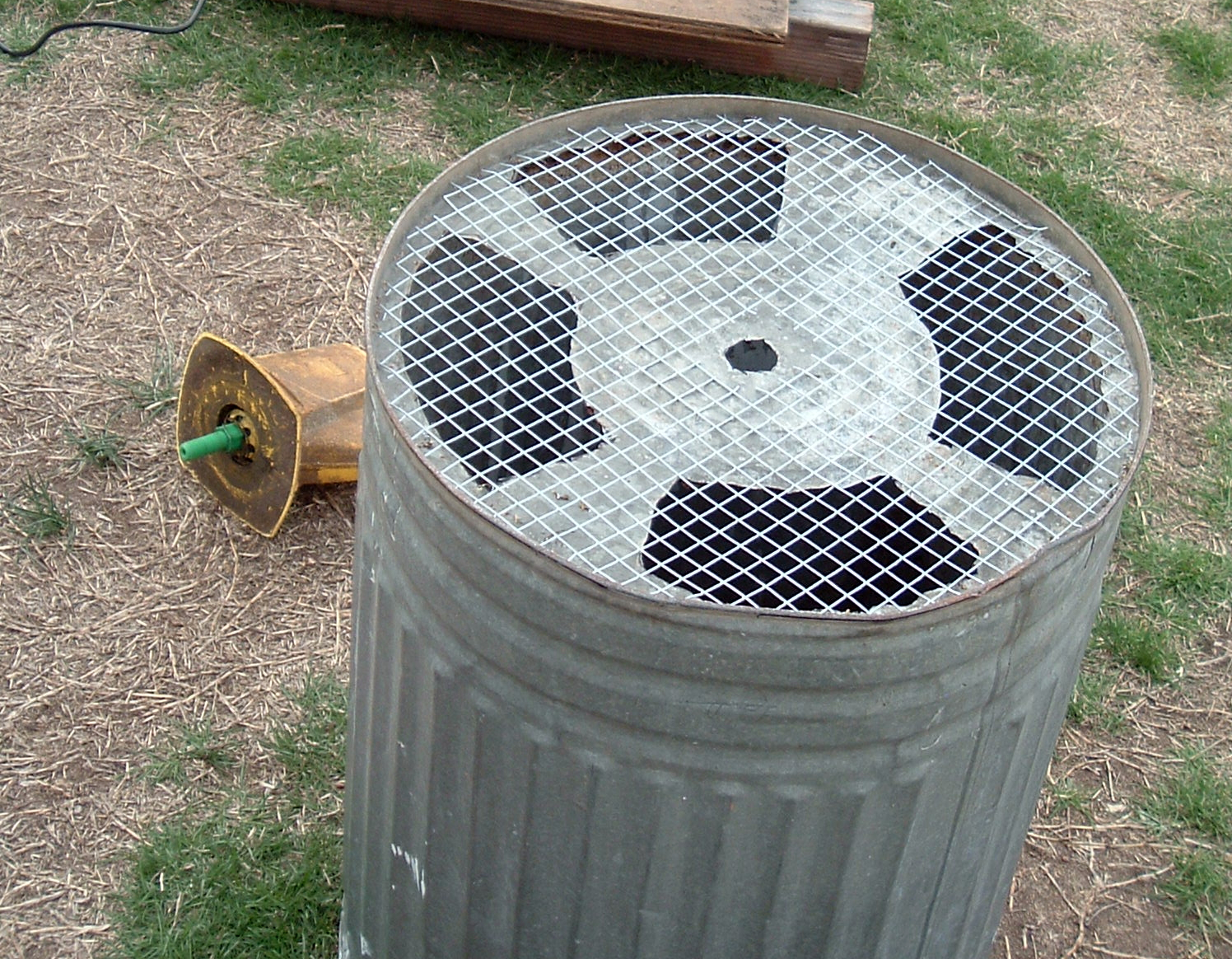 Picture of Cut the Trash Can and Add Mesh.