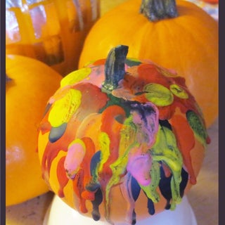 Melted Crayon Decorated Pumpkin