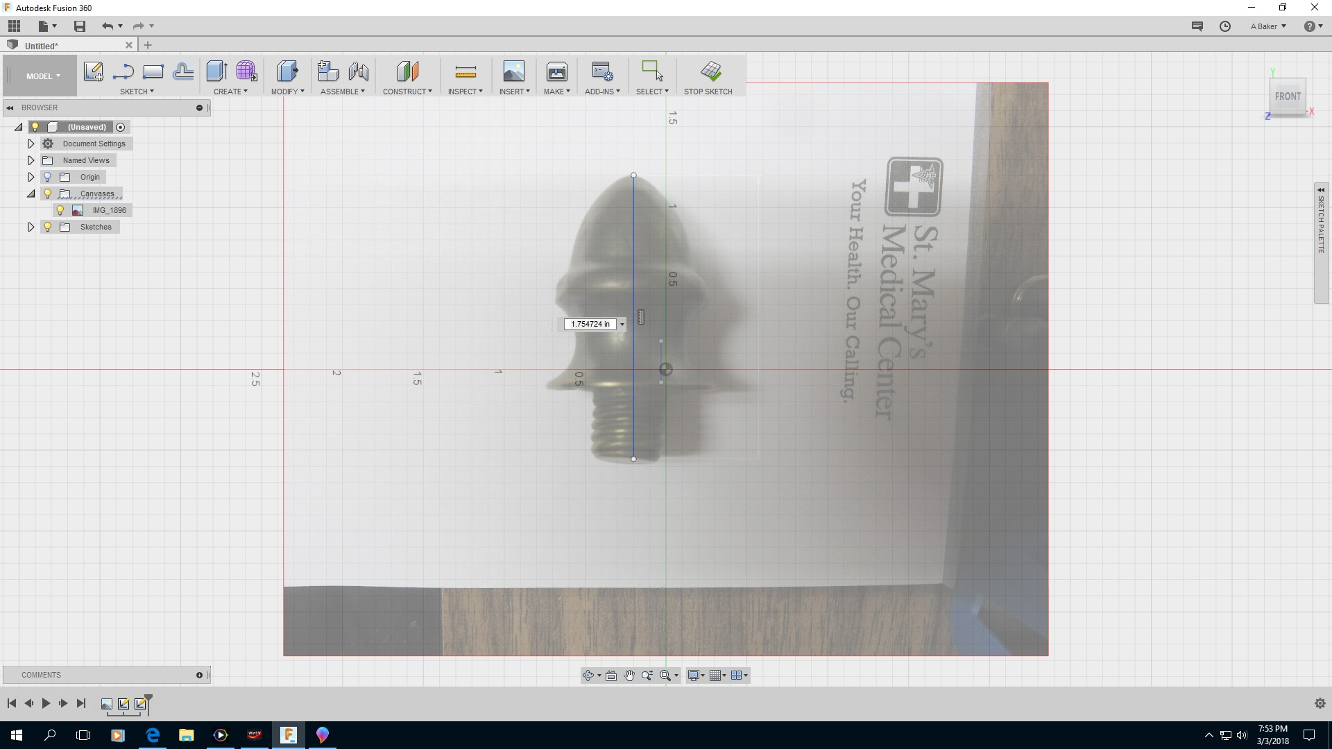 Picture of Tracing and Modeling in Fusion 360