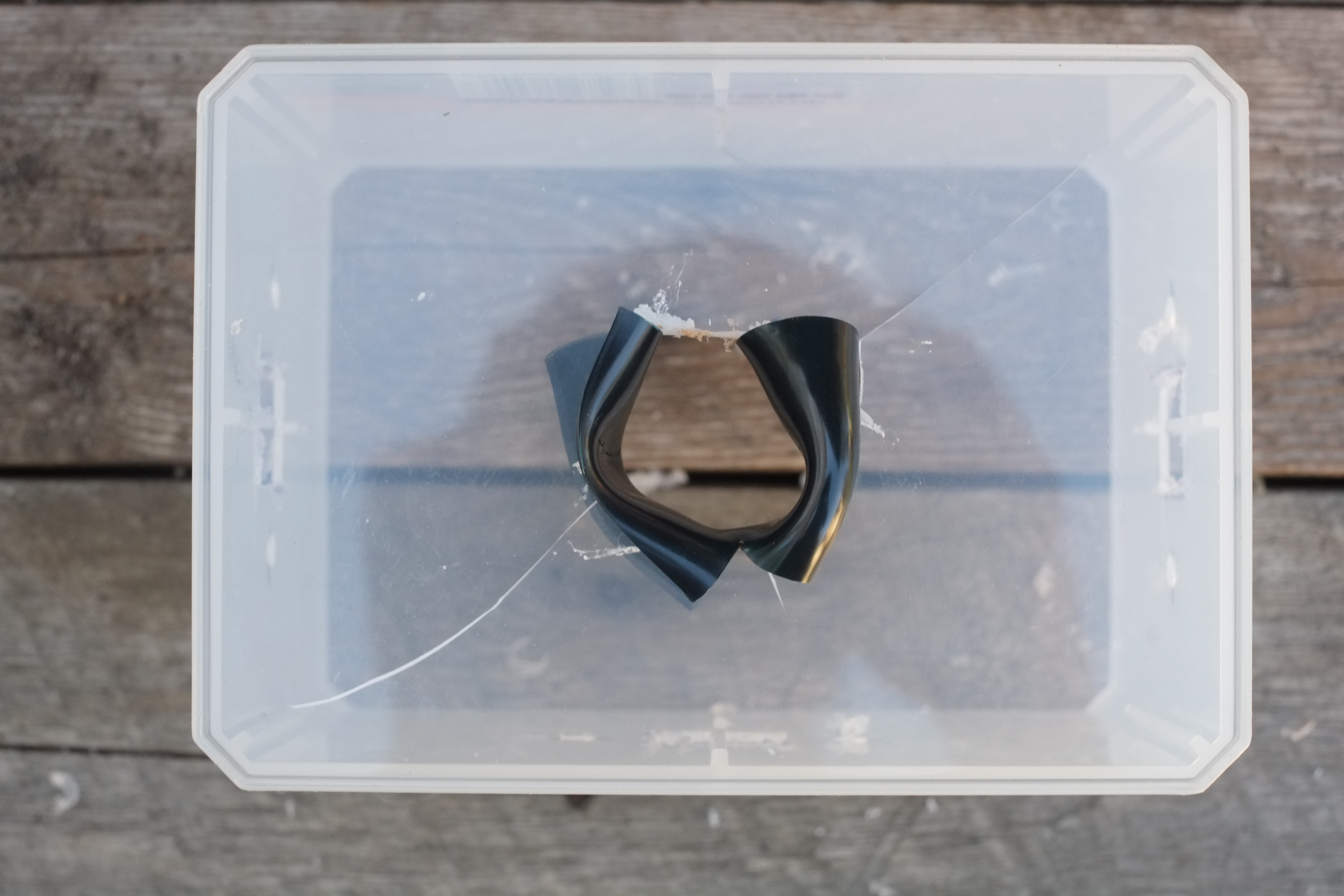 Picture of Preparing the Junction Box: Making a Hole for the Inlet