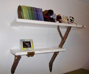 Old Door + Fallen Branches = Shelves!