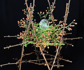 Wasp and Grass Resin Egg with Rose Stand