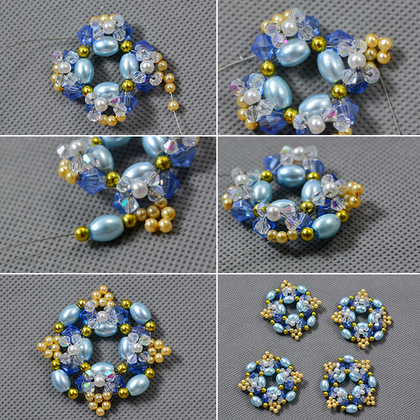 Picture of Add Yellow Pearl Beads Blue Rice Pearl Beads
