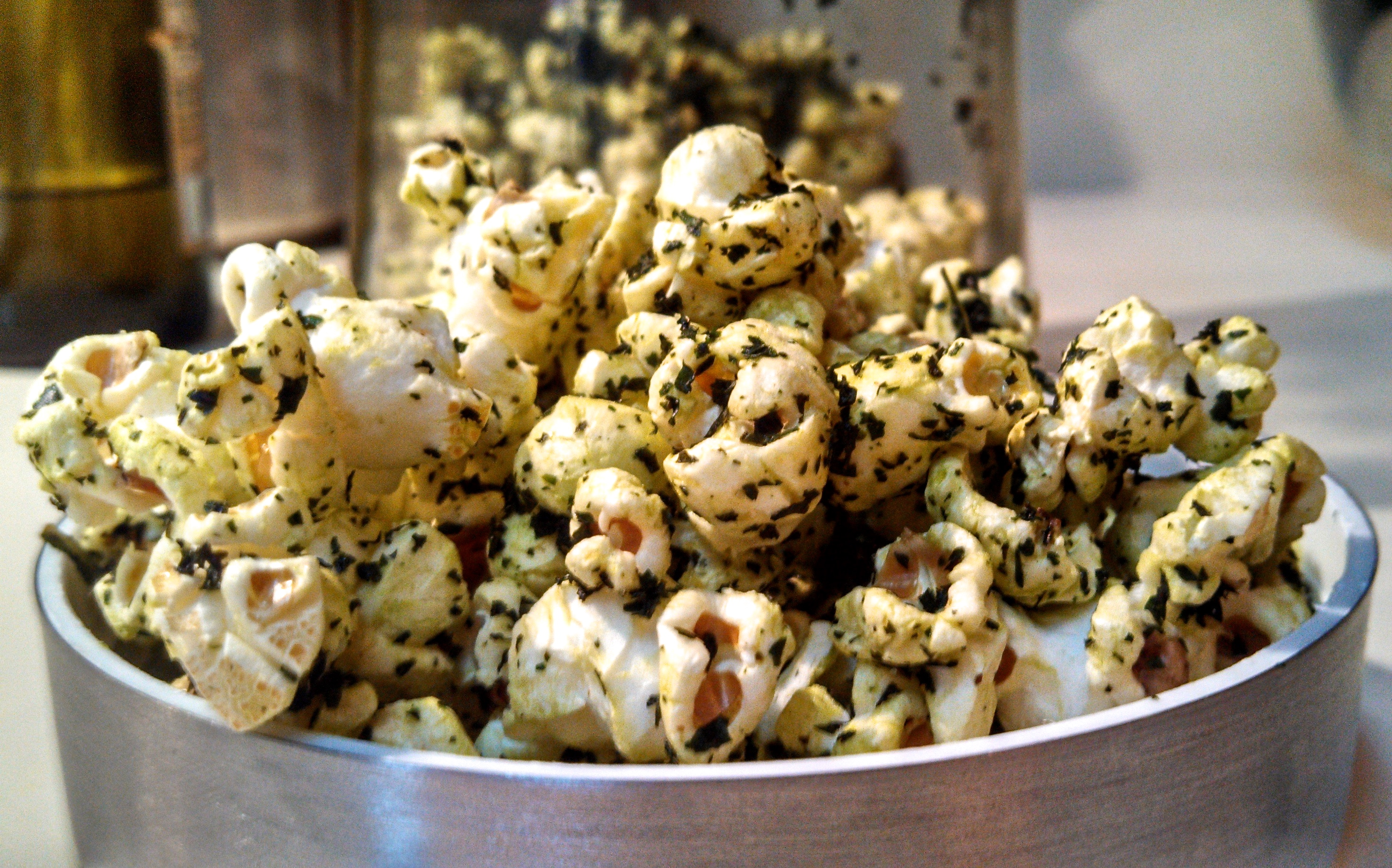 Picture of PopKale - How to Make Seasoned Popcorn With Truffle Oil Infused Kale Chip Crumbles
