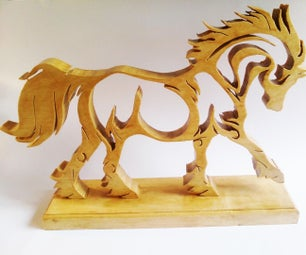 Wooden Horse Fretted and Laser Cut Plexi DIY