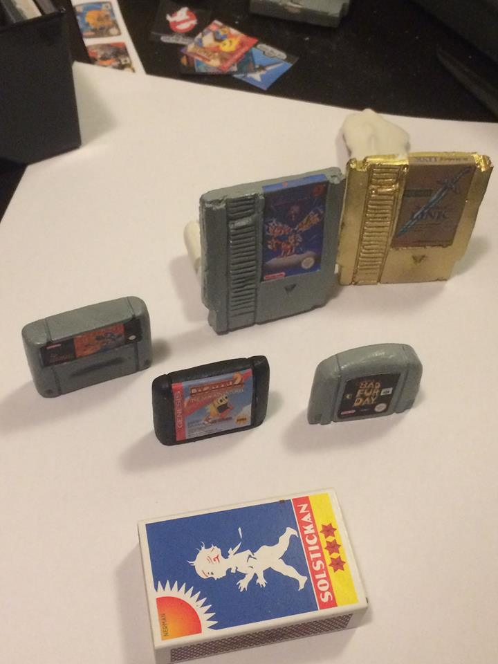 Picture of Refrigerator Magnets Shaped Like Retro NES Game Cartridges.