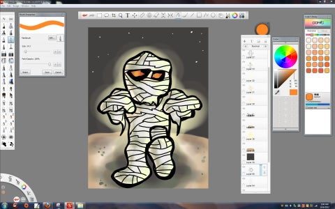 HALLOWEEN MUMMY DIGITAL DRAWING/PAINTING WITH SKETCHBOOK 6.