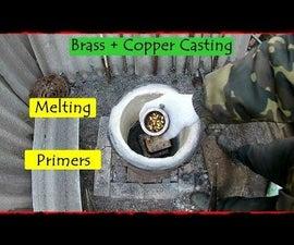 Melting Used Shotgun Primers. Brass + Copper Casting