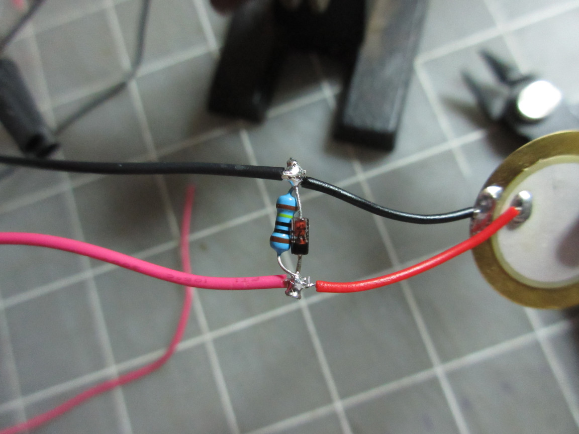Picture of Solder Wires to the Peizo Circuit.