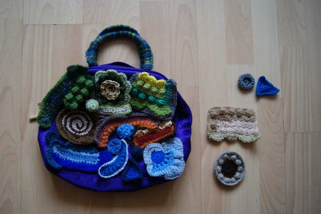 Choosing and Arranging the Finished Scrumbles to Make the Front and Back Panels for the Bag: