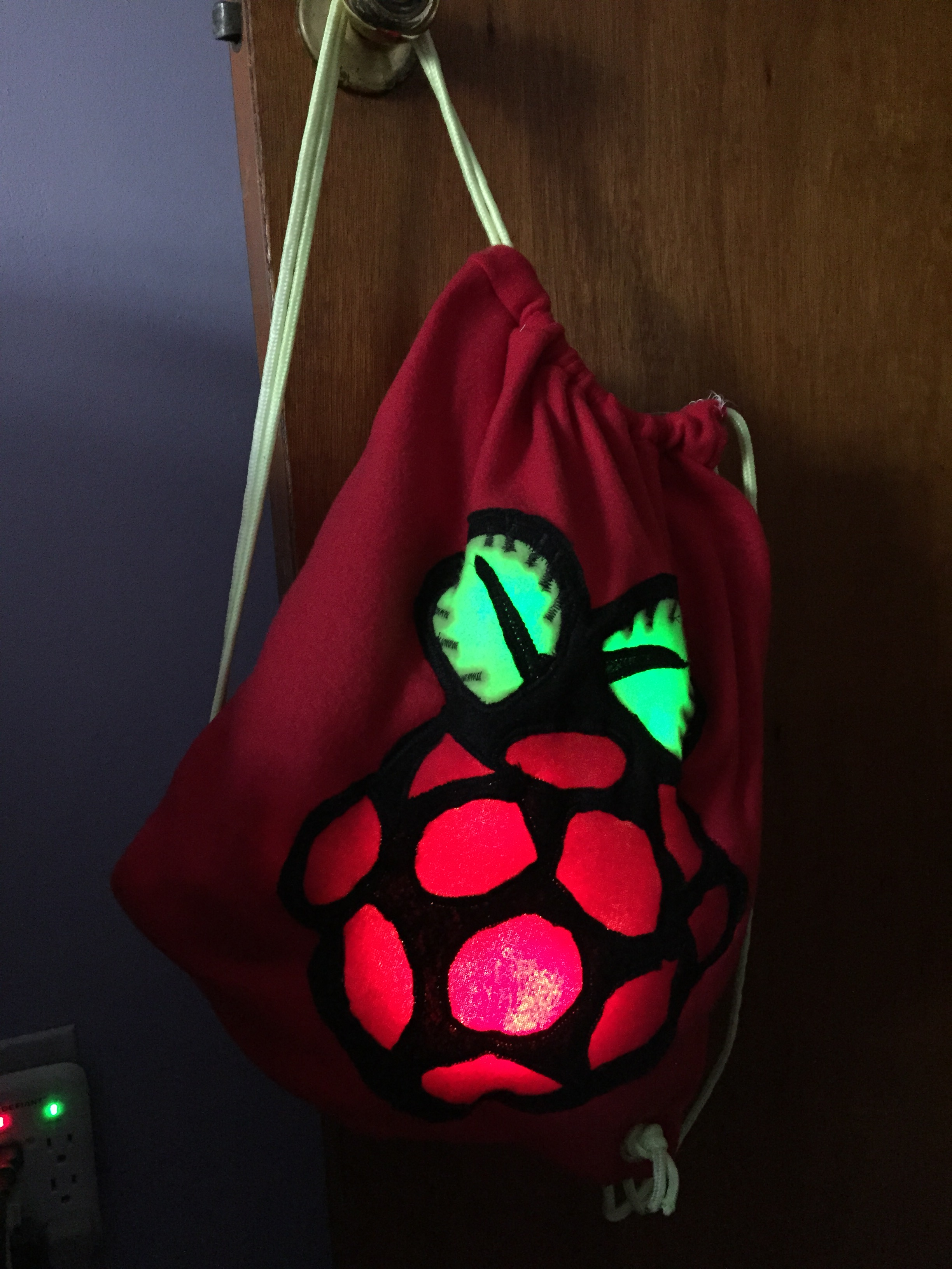 Picture of Radioactive Raspberry Pi Drawstring Bag Backpack