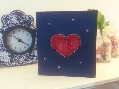 Cross-stitched Valentine's Card