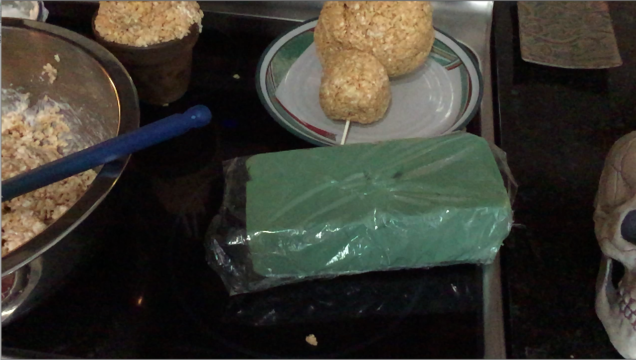 Picture of Use a Second Stick to Prop the Shapes on a Foam Block (Wrap the Block in Plastic Wrap)
