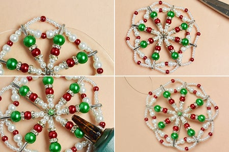 Finish the Pearl Beads Christmas Hanging Ornament