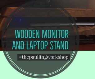 Wooden Monitor Stand With Active Cooling for a Laptop