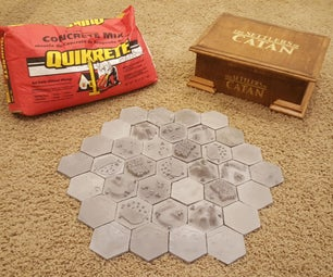 Hand Sculpted 3D Settlers of Catan Tiles & Hand Crafted Box