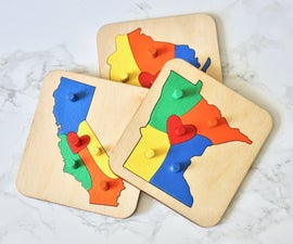 Wooden State Heart Puzzle
