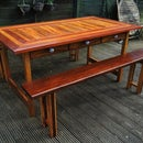 Reclaimed-Hardwoods Dining Table and Matching Benches