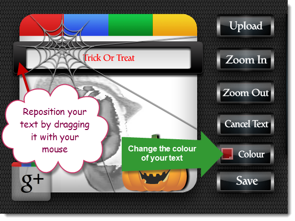 Picture of Text. Google+ Profile Image Avatar Maker - Halloween Style