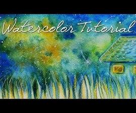 DIY Watercolor Postcard : Starry Night