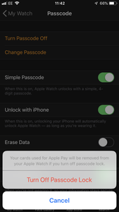 If Your Watch Has a Passcode, Disable It