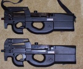 Conversion of cheap Airsoft P90 to Miles laser tag.