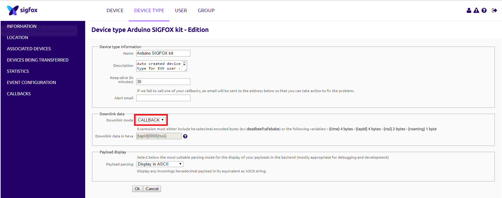 Picture of Sigfox Backend Callback