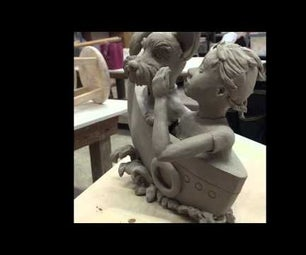 Figurative Ceramic Sculpture of Dog and Girl by Artsy Soul, Edrian Thomidis
