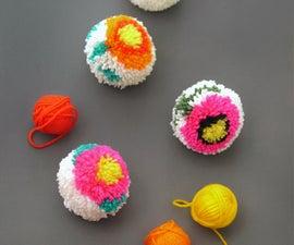 Flower Pom-poms + DIY Pom-pom maker