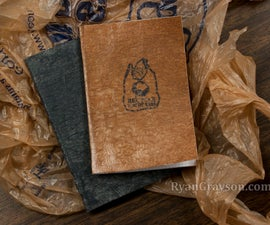 Pocket-sized Notebooks with Recycled Grocery Bag Covers