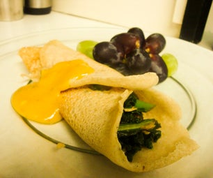 Vegan Crepes With Smokey Tempeh and Sauteed Greens