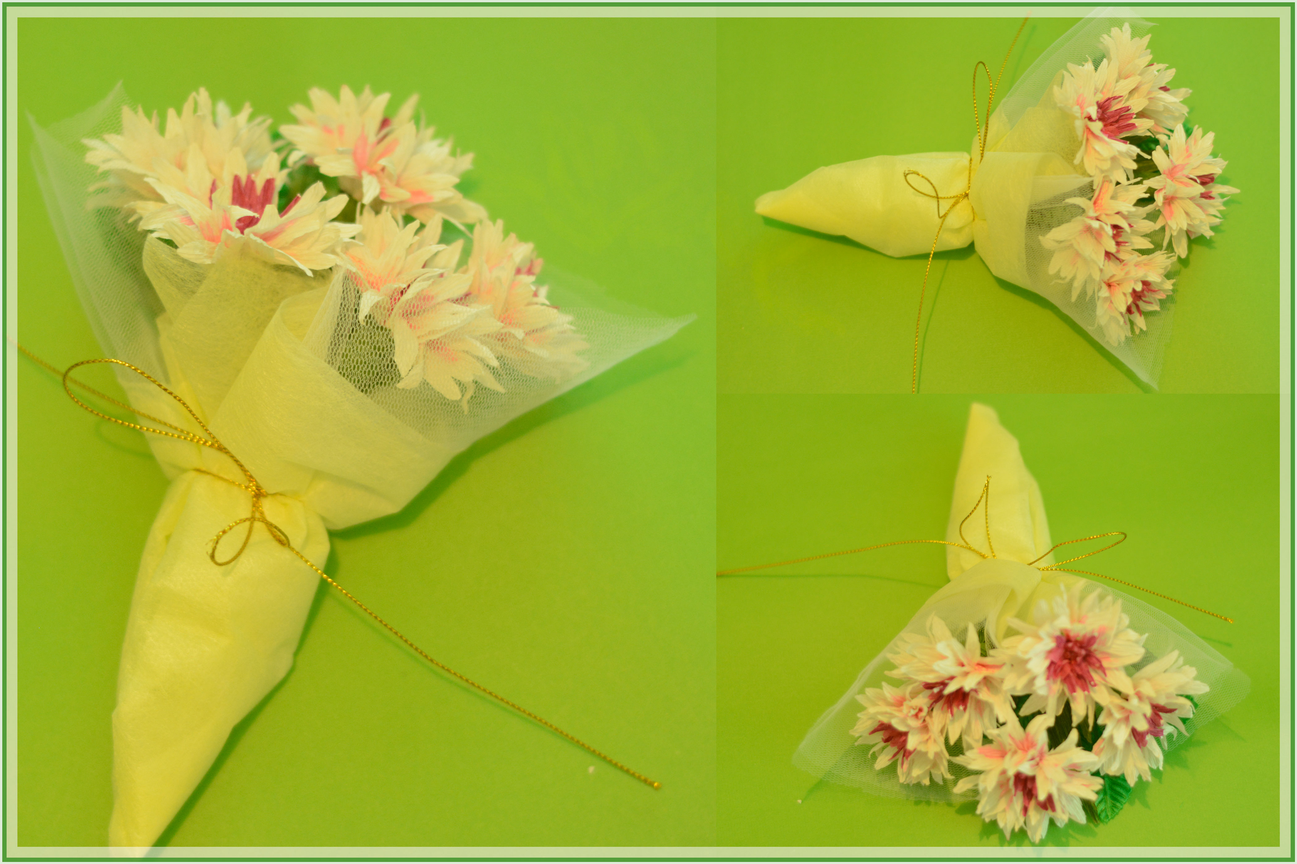 Picture of Wrap the Paper Flowers to Make a Pretty Bouquet