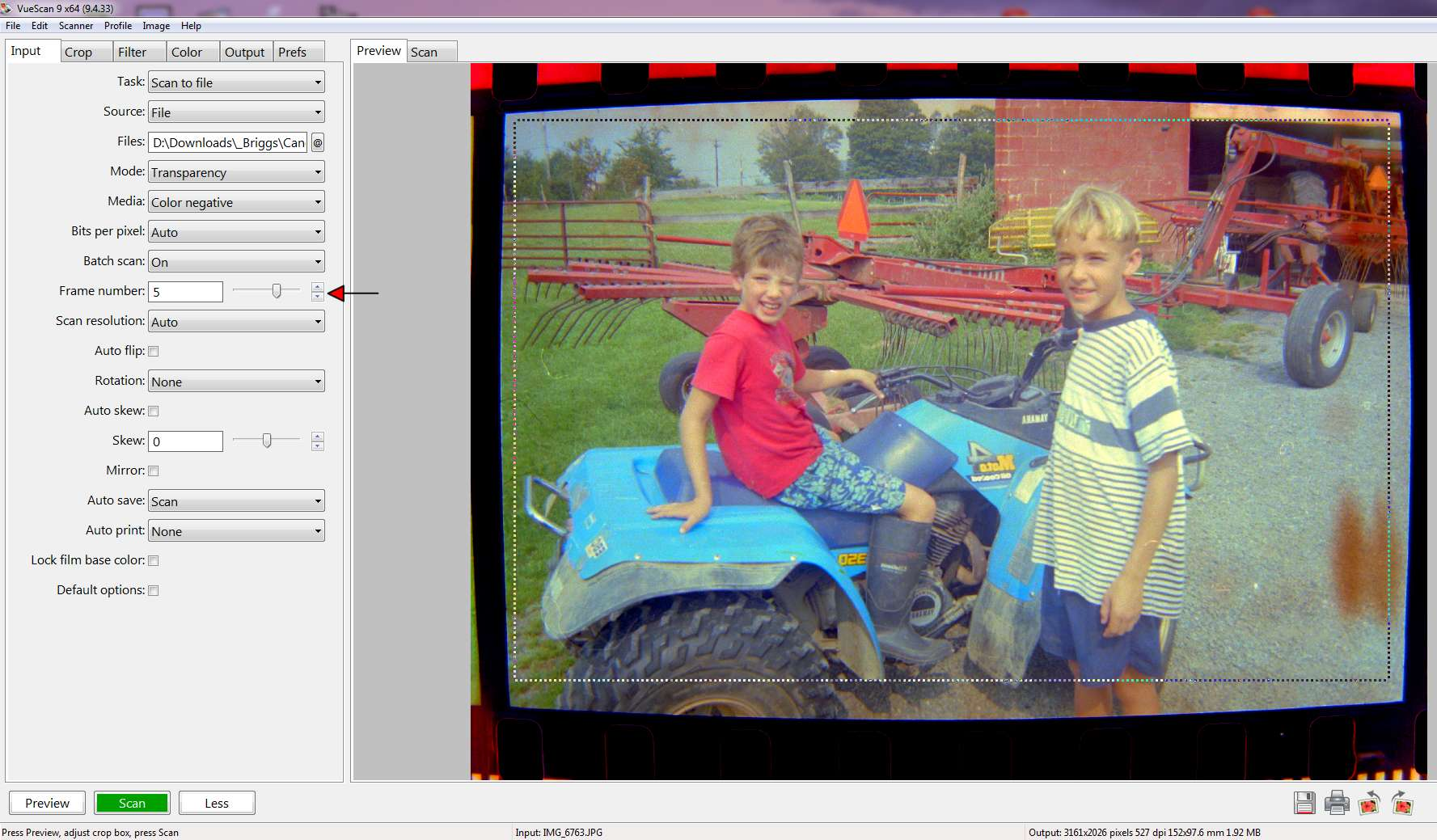 Picture of Batch Scan Digital Negatives As Appropriate