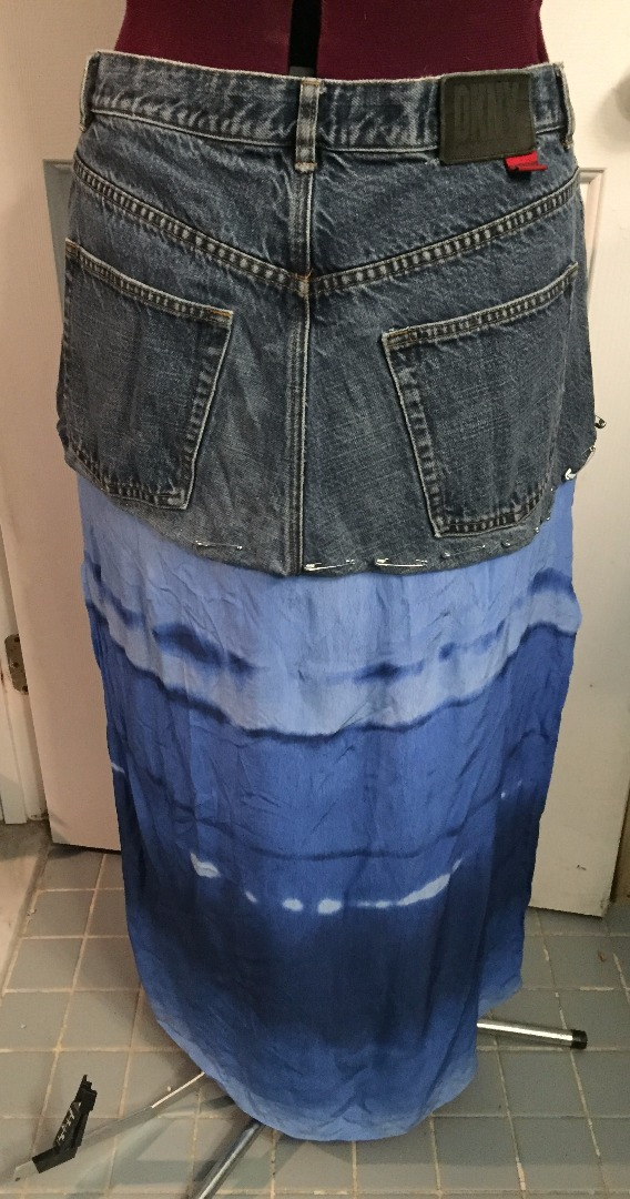 Picture of Step 3: Cut the Jeans and Pin the Skirt Together