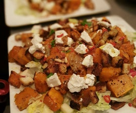 Spicy goat cheese and pumpkin salad