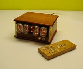 Mahogany & brass nixie clock (with IR and UART control)