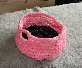 How to crochet a basket with t-shirt yarn
