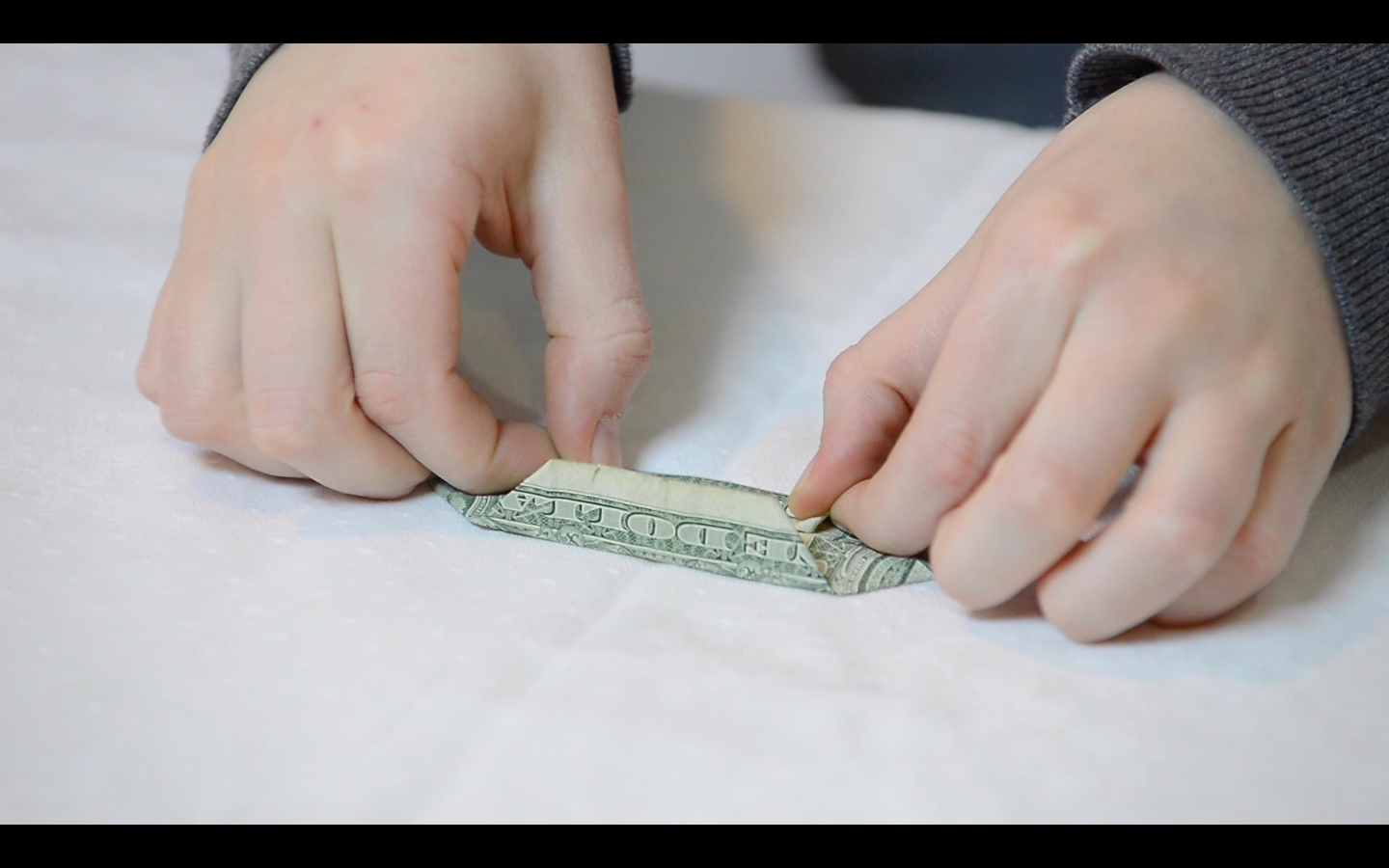 Picture of Origami Flower: How to Fold the Dollar Bills - Fold 5