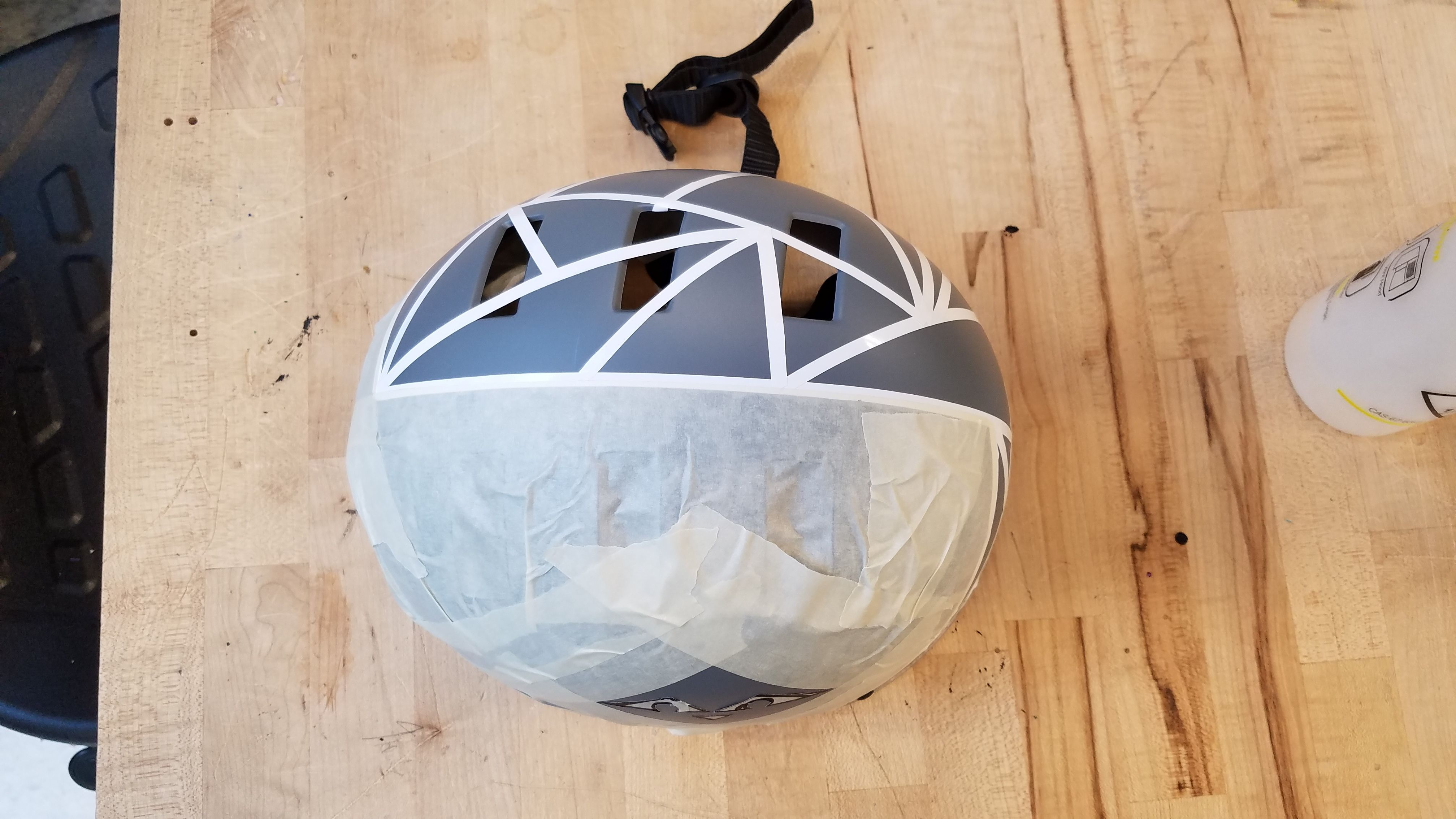 Picture of Protect the Rest of the Blank Side of the Helmet With Masking Tape.