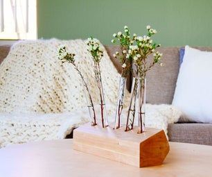 Wooden Test Tube Vase