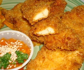 Crispy Moist Chicken Fingers with Breaded Fries and Sauce