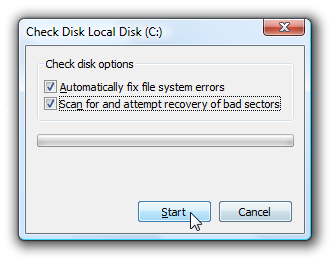 Picture of Check Disk for Errors