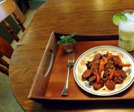 PECAN SMOKED ANDOUILLE SAUSAGE IN a CHIPOTLE ADOBO MUSTARD SAUCE