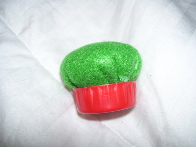 Making the Pin Cushion: Attaching to the Bottle Cap.