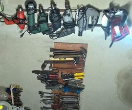 A Simple Wall Rack for Electric Tools With Metal From Backyard