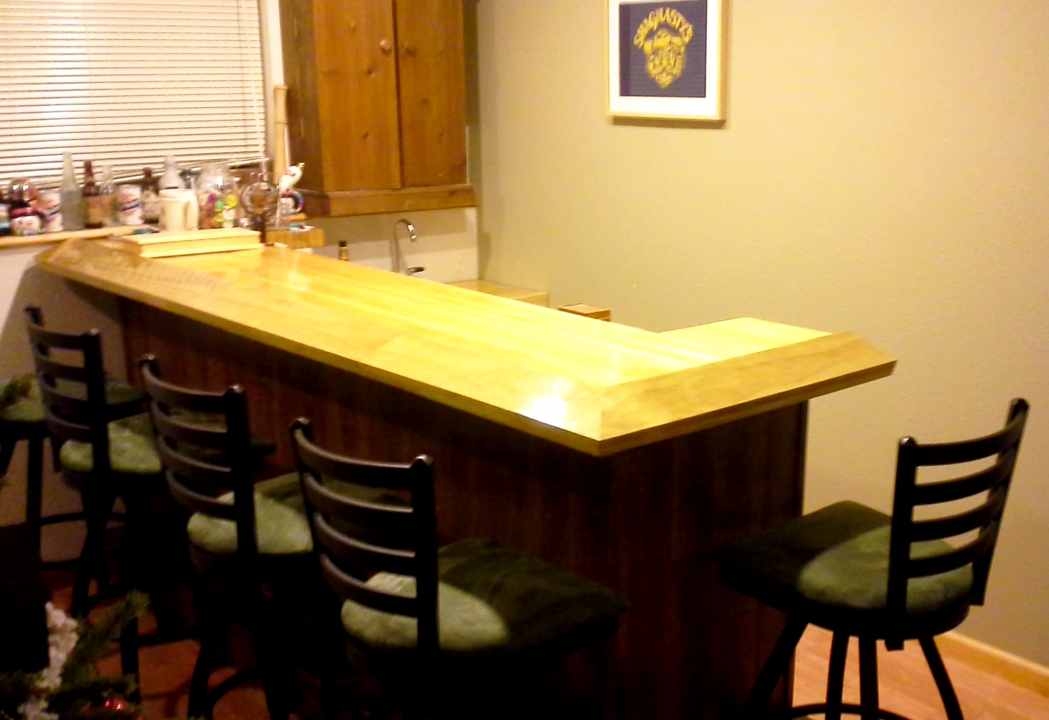 Picture of Home Bar With Reclaimed Bowling Alley Bar Top